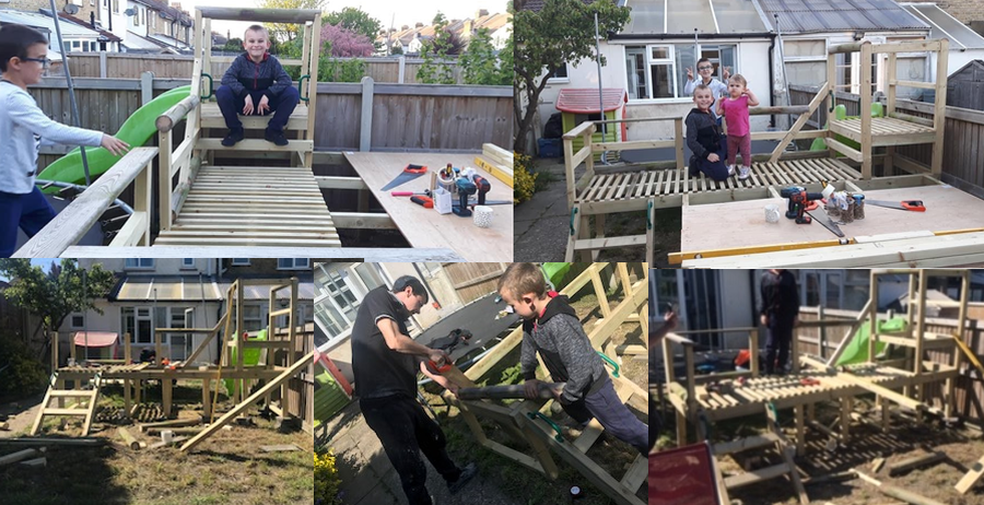 Tyler-Jae has been busy supporting his step dad in building play equipment for the garden and has learnt how to use a hammer and a saw.  Great application of skills Tyler-Jae! I am sure you, Lucas-James and Kenya-Jo will have lots of fun on your new climbing frame and slide.