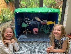 Ettie and Elodie's homemade aquarium