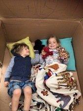 Oscar 3, Ruby 5, cardboard box den <br>and mark making - hours of fun!