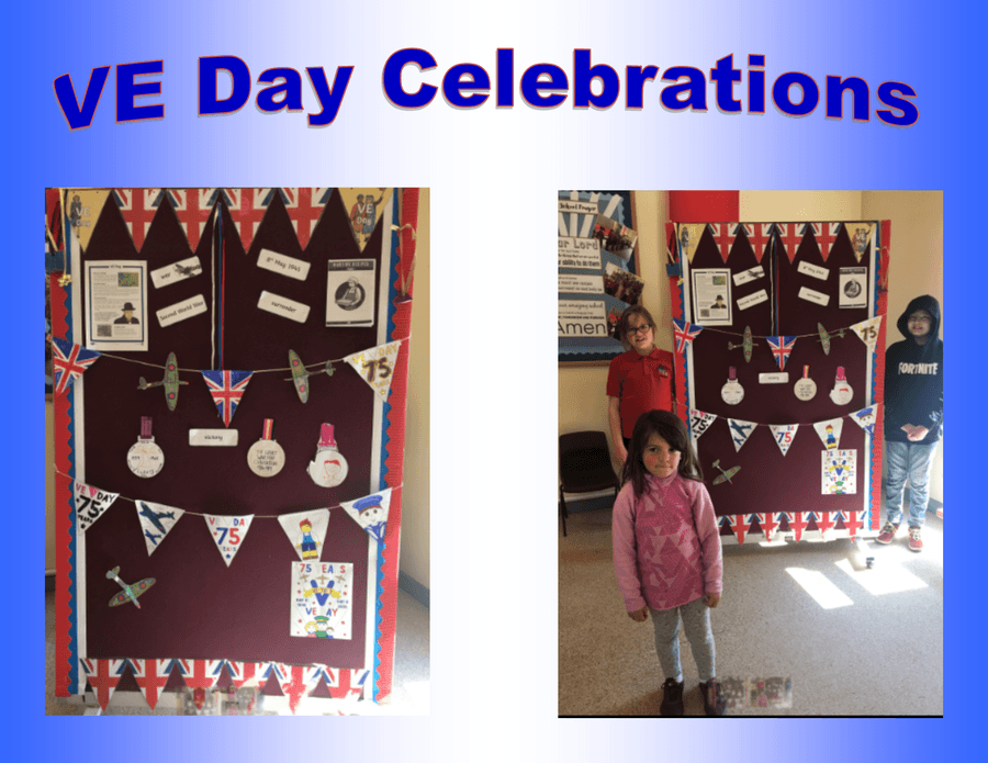 Learning all about VE Day in School.