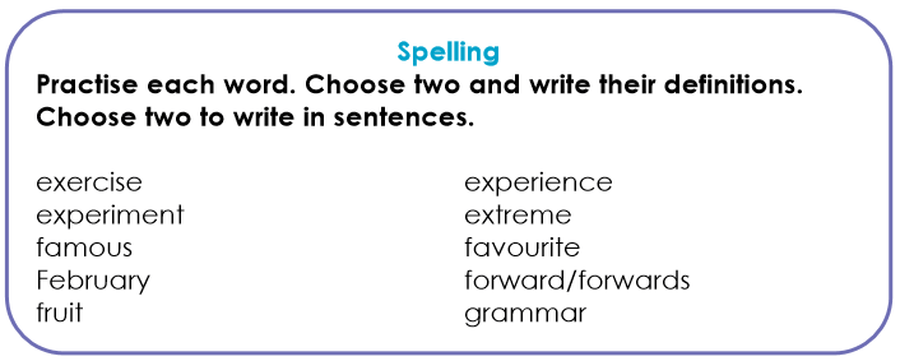 Please spend some time learning these spellings this week!