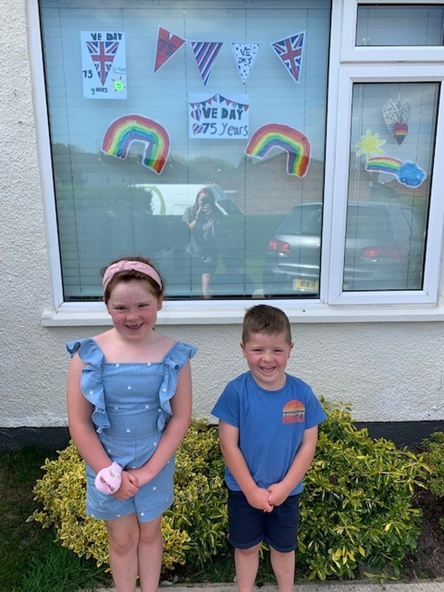 Ruby Y2 and Caleb R celbrating VE Day