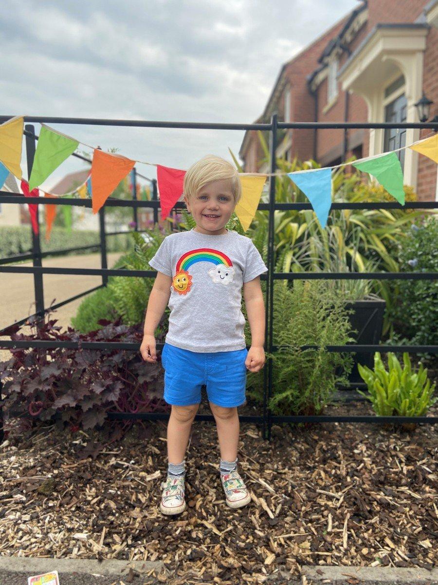 Mrs Barnard's little boy enjoying VE day celebrations.