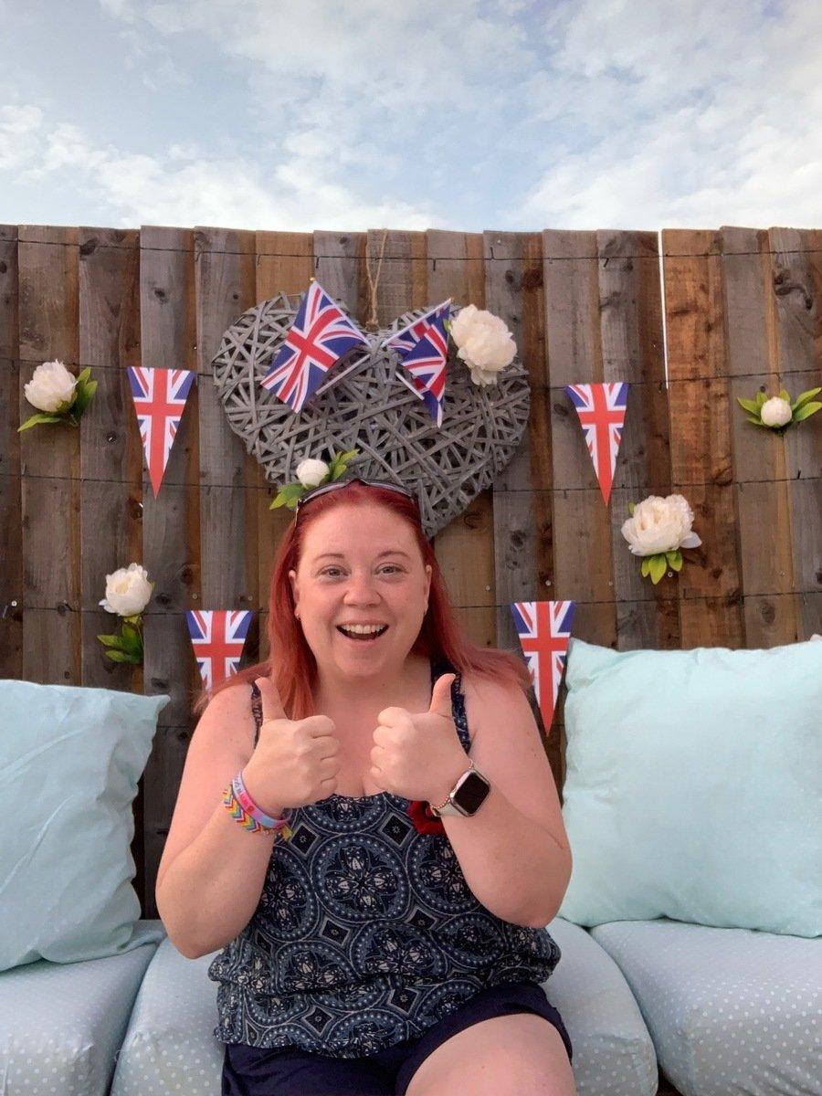 Miss Cavendish enjoying VE day celebrations in her garden.