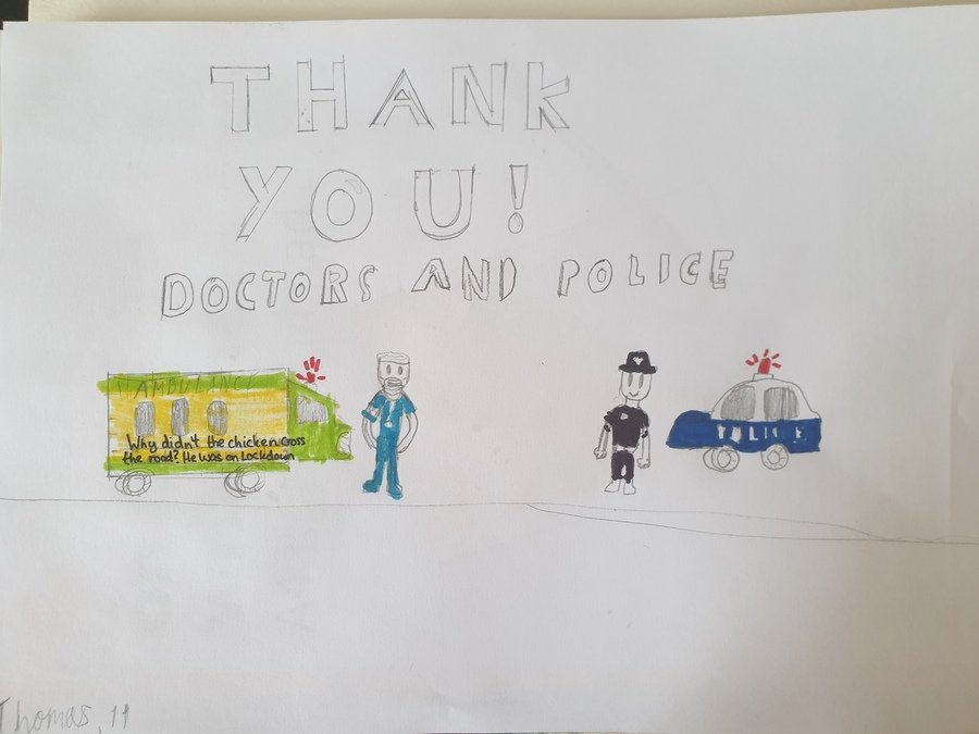 An uplifting poster for our key workers - created by a talented Y6 student this week!