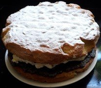 Mrs Rose's raspberry and blueberry compoteVictoria Sponge