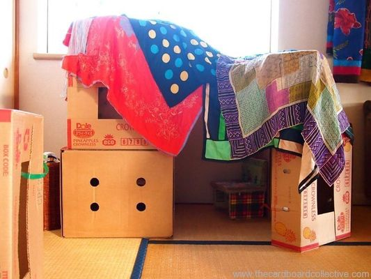 You could build your lair indoors with boxes, chairs and blankets