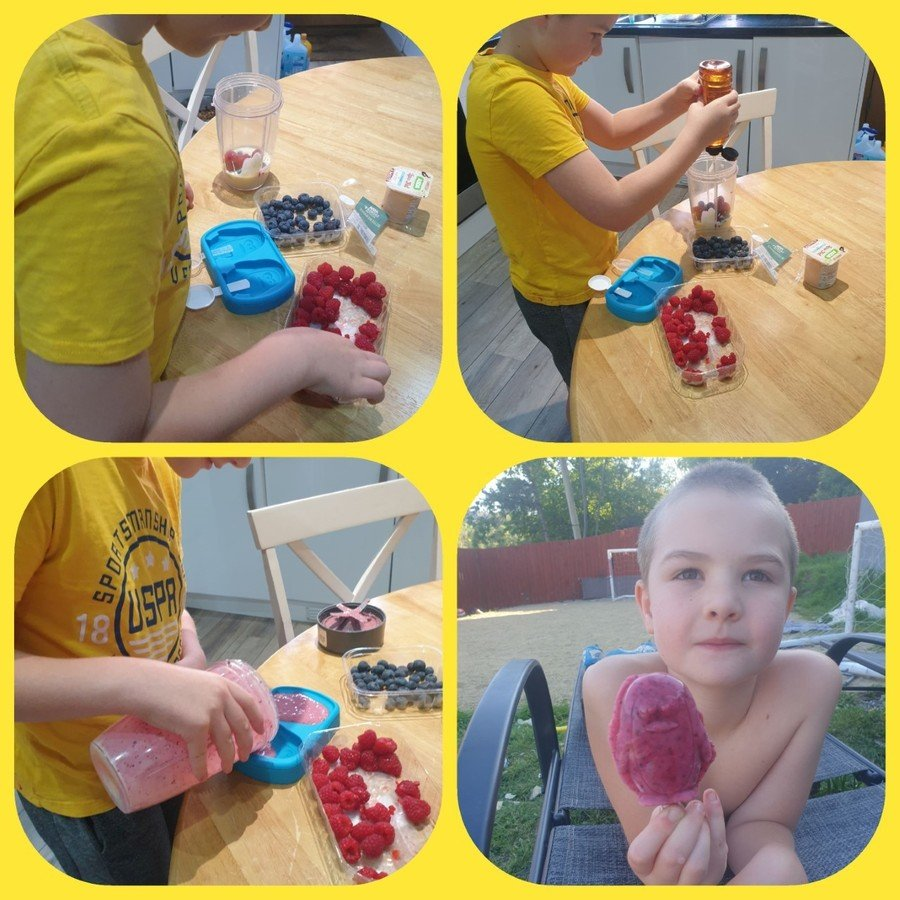 Jaxon creating his ice lollies.  Well done - they look delicious!