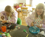 Doily making by Annabelle & Claudia