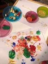 Painting with vegetables, <br>by Oscar aged 3