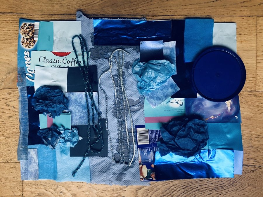 Blue Collage using various household items