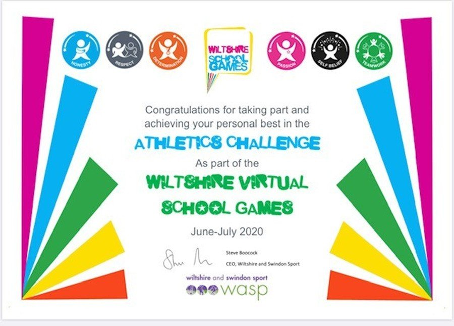 Congratulations Ruby on receiving this certificate for your entries in Week 1 of  the Virtual Sports Day Challenges!