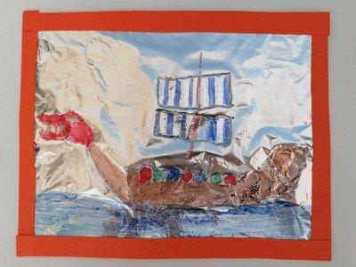 Louis' Tin Foil Viking Longship