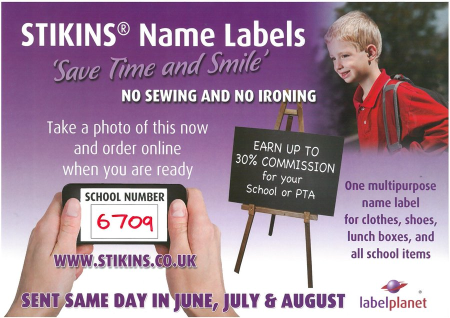 Stikins Name Labels. Please use our School Code: 6709