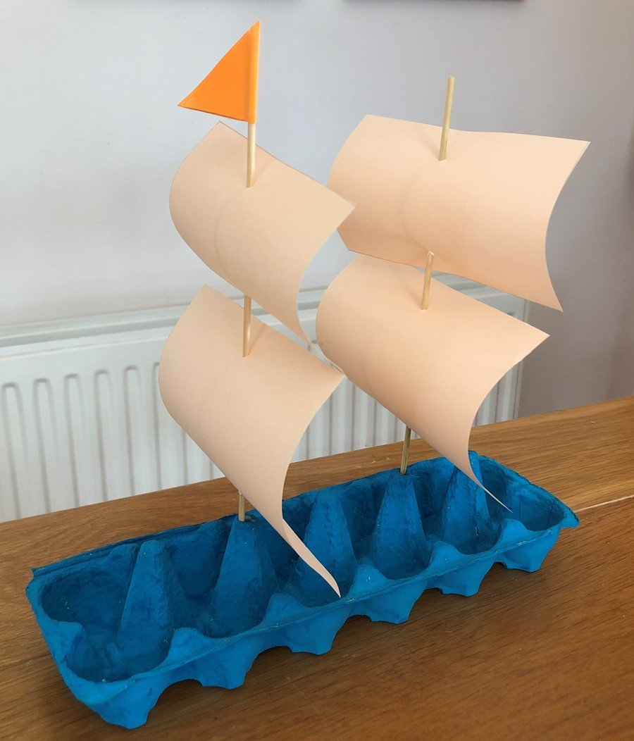 Blue egg box sailing ship with two lots of sails