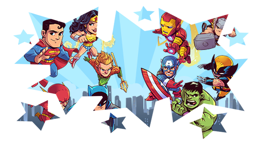 Click on the Superheroes  to find out more about the Maths Super Powers and how you can gain them!
