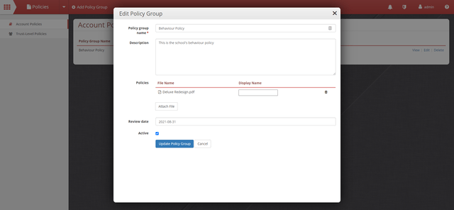 Edit Policy Interface
