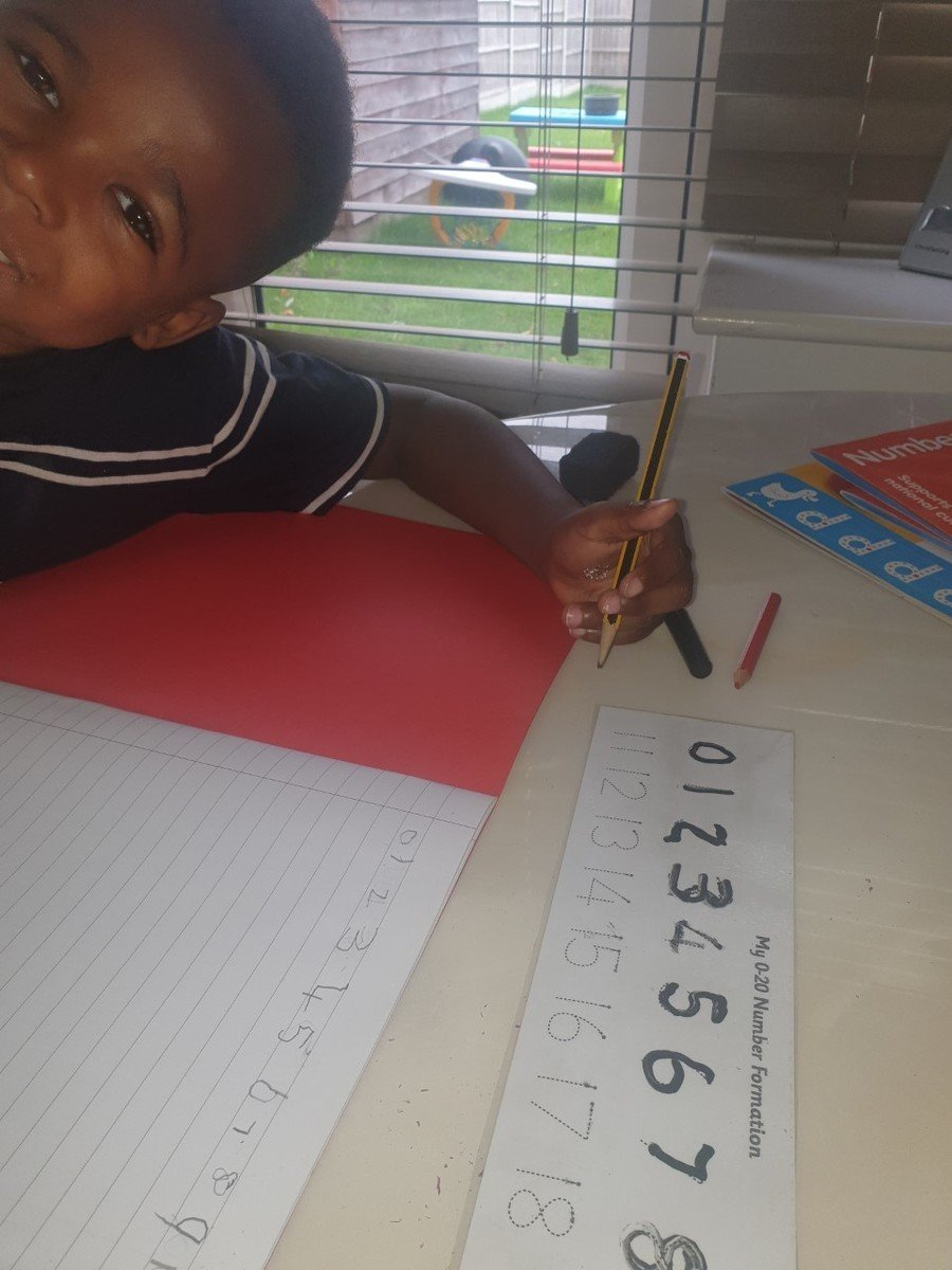 Cavell having a go at number formation, well done!