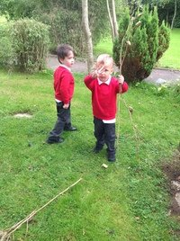 Finding sticks!