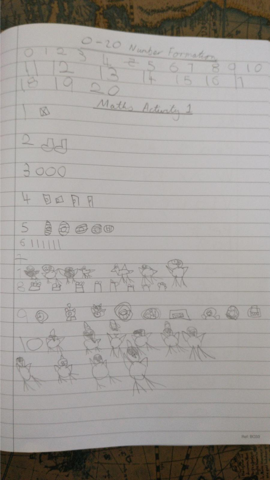 Violet had a go at forming her numbers and drew pictorials too, well done!