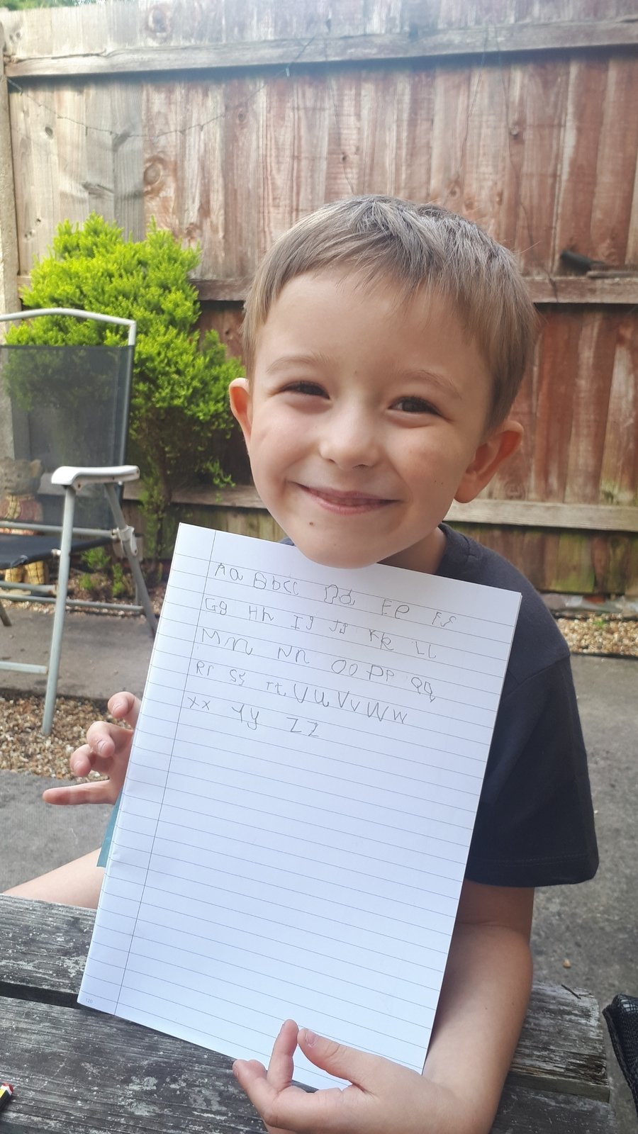 Reece had a go at forming his letters, great effort!
