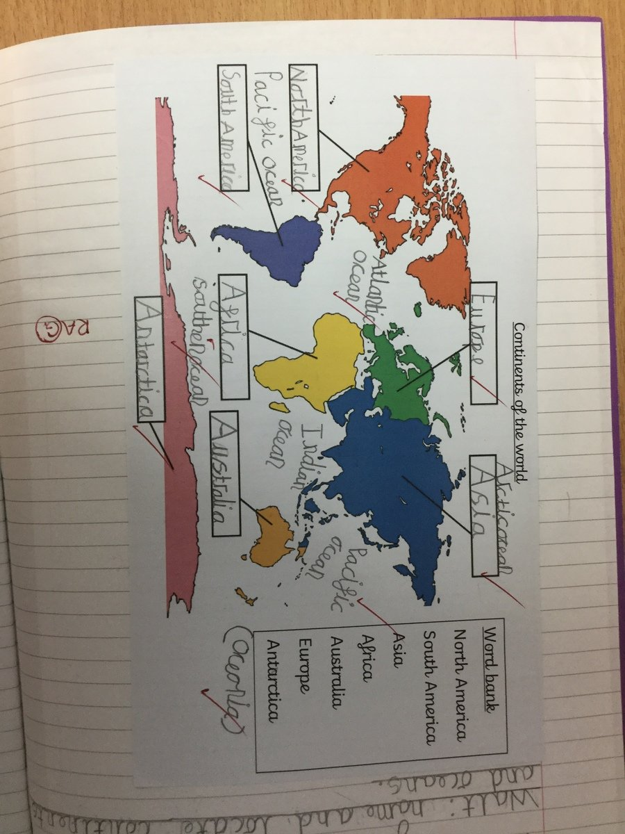 We started our learning with Geography, where we located the continents and oceans of the world so we could identify India.
