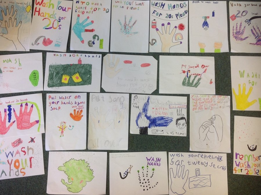 In our Project Friday lesson we made these fabulous hand washing posters.