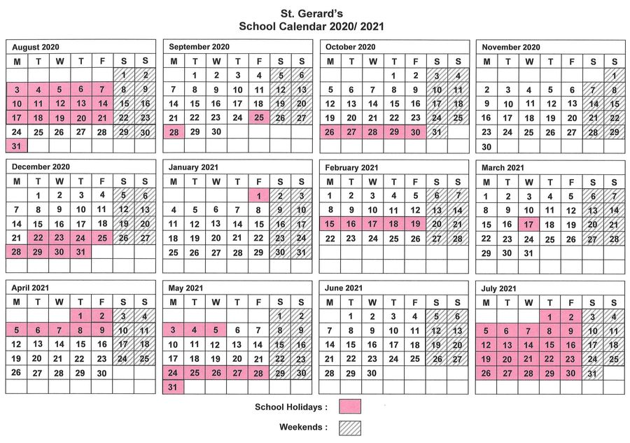 St. Gerard's School Calendar 2020-21