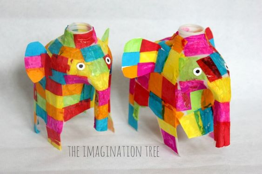 Make an Elmer using an old milk carton and some tissue paper. Ask an adult to help you to cut the bottom from the carton as this bit can be a little tricky.