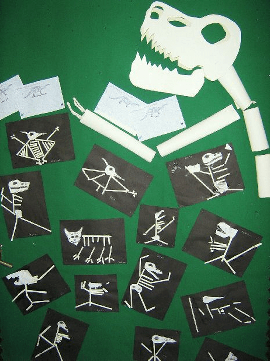 Using different materials in your home, try creating some dinosaur skeletons.