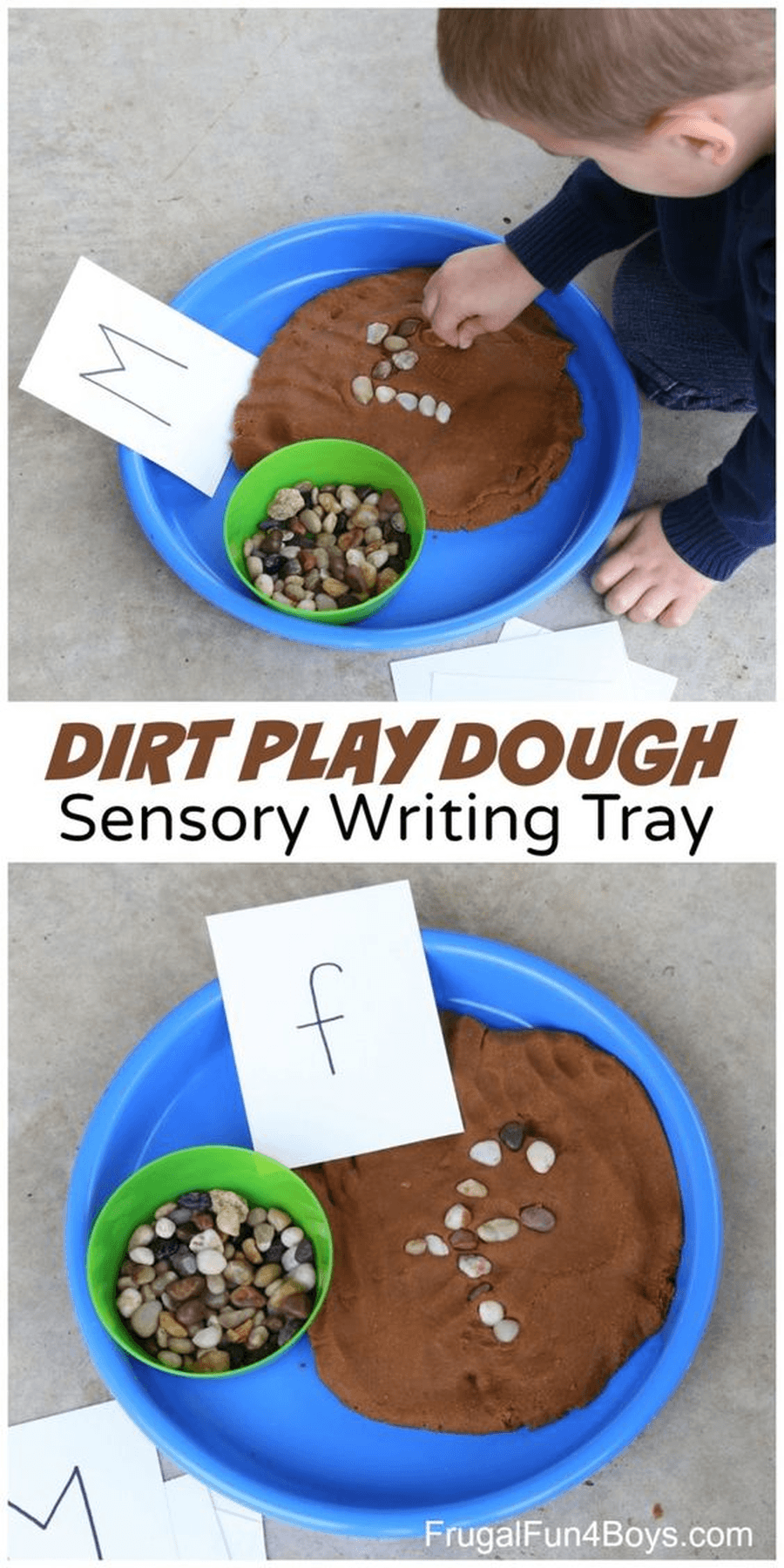 Practice making some of the letters you have been learning at school. Can you make the letters with stones in the dirt? Try making  s, a, t, p, i or n?