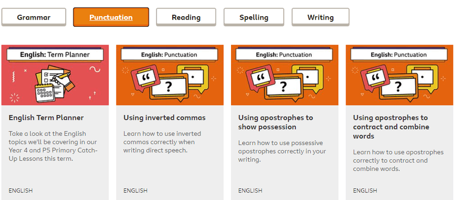 Click on this link and use any of these lessons to help you with your grammar and punctuation