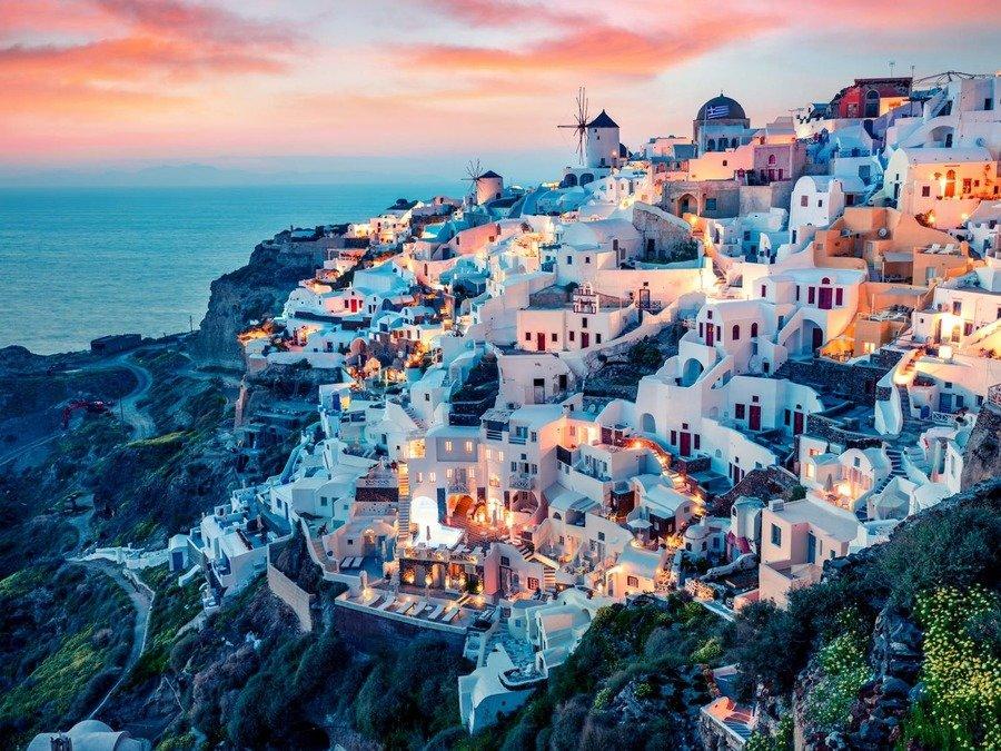 Santorini is a beautiful  island