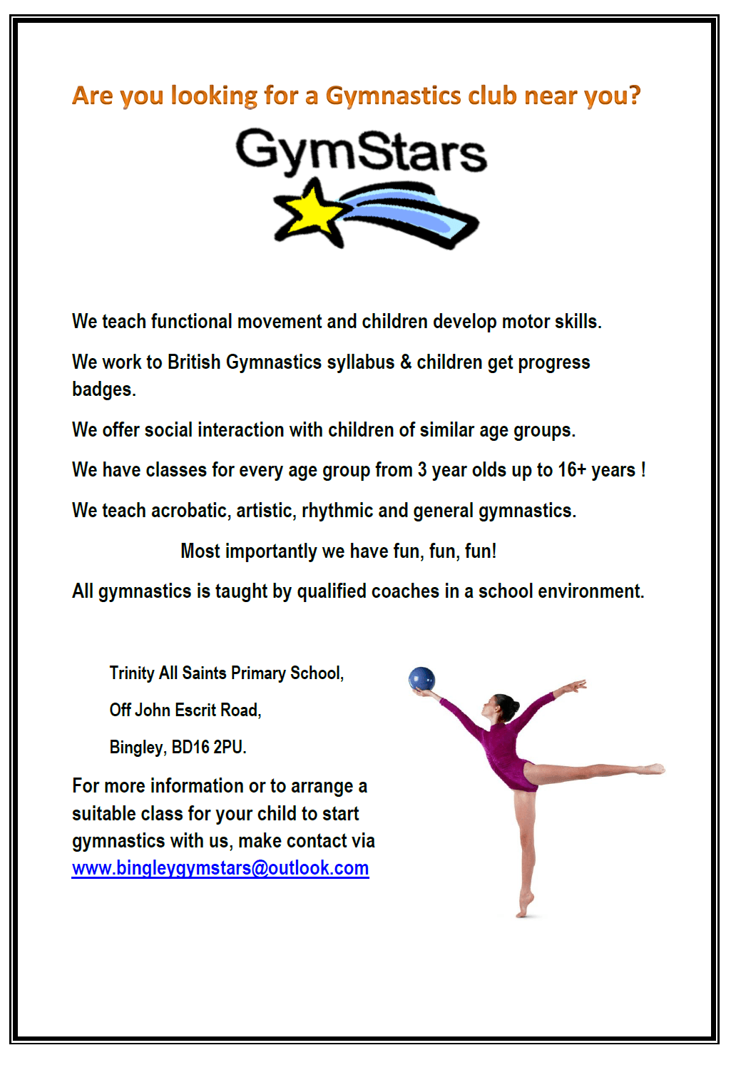 Looking for a gymnastics club in Bingley at Trinity All Saints Primary School