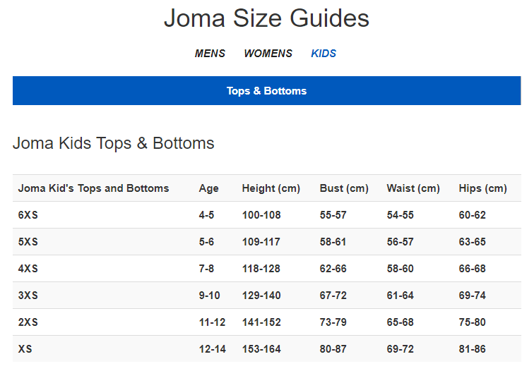 Joma size guide