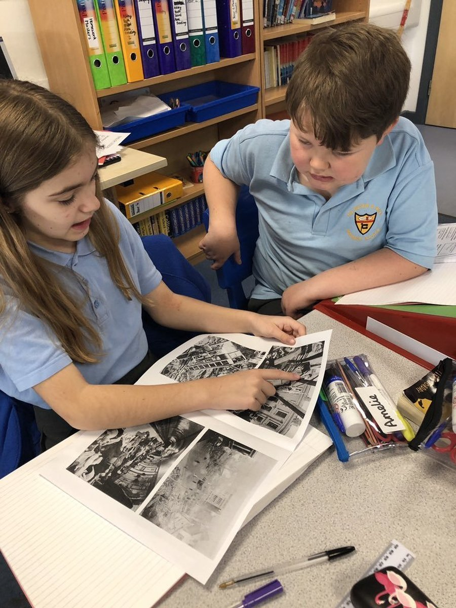 Y6 using sources of evidence to learn about the Blitz in history.