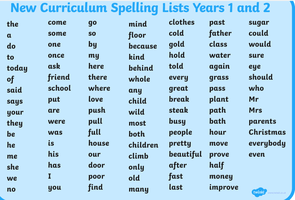 Year 1 and 2 Spellings