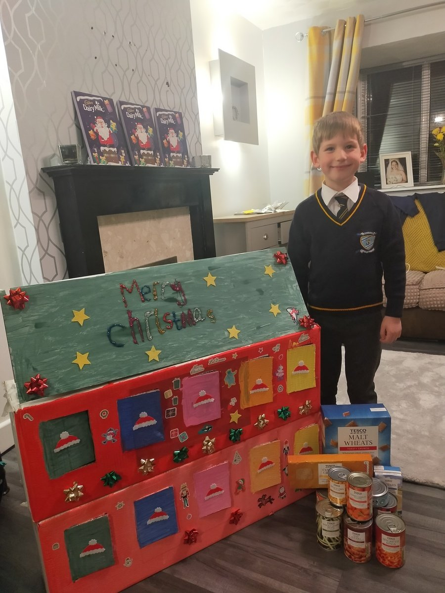 We have such thoughtful children. This wonderful boy created his own Advent Foodbank Calendar