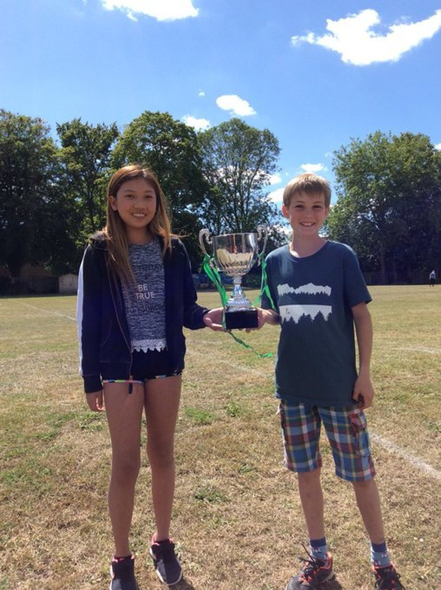 MacArthur were the winners of Boxgrove's Virtual Sports Week at the end of the Summer term. Here are the House Captains with the cup!