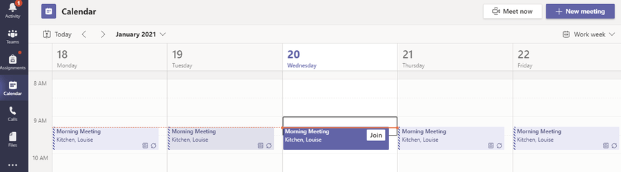 Children will be able to access 'live time' with their class from their Meeting Point Team or through their calendar.