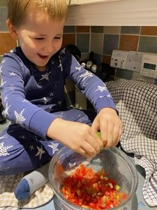 Fletcher making salsa