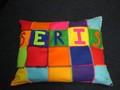 A cushion we all helped to sew.