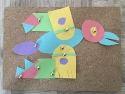 Charie's cuckoo using pins on a cork board!