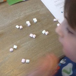 Charlie using marshmallows to help him with his maths.