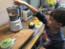 Beau making smoothies