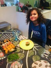 Elvi trying sushi for the first time!