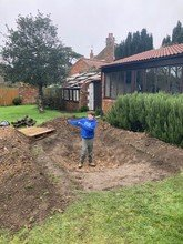 Fred's building a wildlife pond in his garden