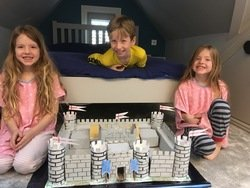 Ettie & Elodie (and Monty) made a castle