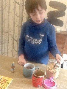 Charlie making hot cocoa!