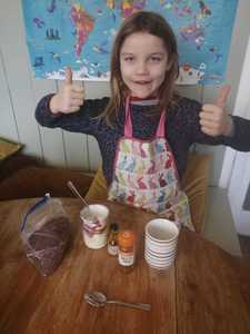 Edie ready to make her hot cocoa